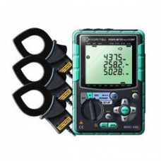 Компактный измеритель мощности в комплекте с клещевыми адаптерами (Ø40, 500А - 3шт) KEW 6300-01